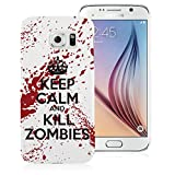 Samsung Galaxy S6 Case PC Hard Plastic Cover - Ultra Slim - White Super Slip Case with Funny Keep Calm and Kill Zombies Design