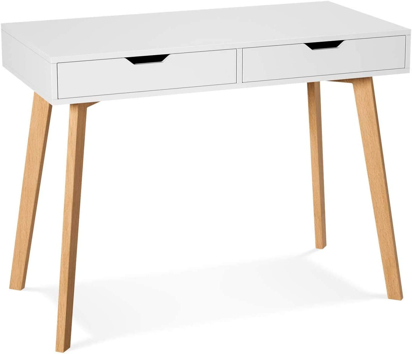 Writing Computer Desk with Two Drawers, Laptop PC Table Workstation for Home Office, Modern Makeup Vanity Table (White)