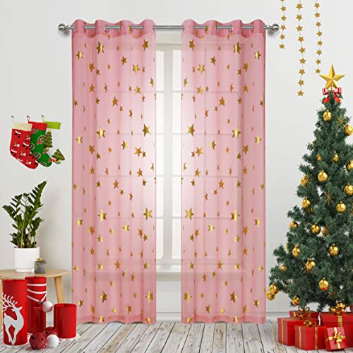 Pink Star Print Curtains Sheer Window Drapes with Gold Twinkle Star for Living Room 2 Panels Grommet Thin and Soft Cosmic Theme for Bedroom and Space-Loving Grown-ups 63 inch Length (Pink Curtains Gold And)