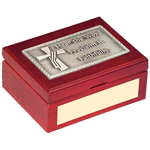 Deacon's Cross Hear The Word Cherry Keepsake Box CH-482P-Box-S