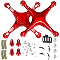 Generic Upper Lower Body Cover & Motor Case & Screws & LED Lampshade & Battery Base Bracket for Syma X8C X8W X8G X8HW X8HC X8HG RC Quadcopter Spare Parts DIY (Red)