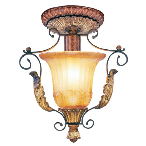 Livex Lighting 8578-63 Villa Verona 1 Light Verona Bronze Finish Flush Mount with Aged Gold Leaf Accents and Rustic Art Glass (Gold Leaf Accents)