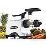 Omega Juicers TWN30S Twin Gear Masticating Juicer Makes Continuous Fresh Fruit Vegetable and Wheatgrass Juice with Stainless Steel Gears and Low Speed, 150-Watt, Silver