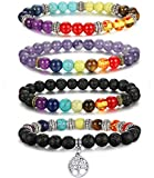 LOLIAS 4Pcs Natural Stone Chakra Bracelet for Men Women Diffuser Yoga Bracelet Life Charm Bracelet 8mm
