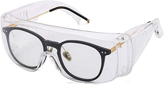 Suertree Safty Glasses, Protect Eyeglasses Over Glasses Industrial Glasses Goggles can wear Over Normal Glasses General Clear Safety Glasses with EN166…