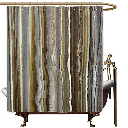 Godves Womens Shower Curtain,Apartment Decor Onyx Marble Rock Themed Vertical Lines and Blurry Stripes in Earth Color,Bathroom Curtain Washable Polyester,W47x63L,Mustard Brown