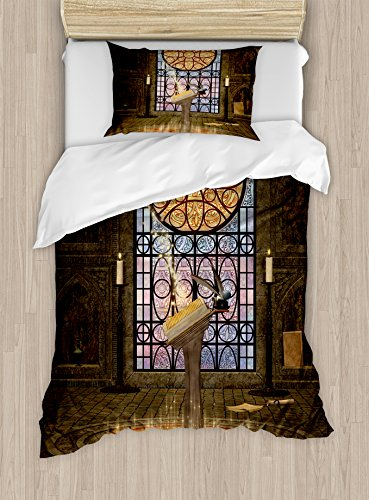 Ambesonne Gothic Duvet Cover Set, Lectern on Pentagram Medieval Architecture Candlelight in Dark Altar, Decorative 2 Piece Bedding Set with 1 Pillow Sham, Twin Size, Olive Green Mustard