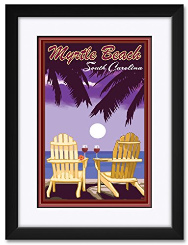 (Myrtle Beach, South Carolina Adirondack Chairs Sailboat Framed & Matted Art Print by Joanne Kollman. Print Size: 12