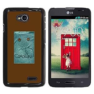 Paccase / SLIM PC / Aliminium Casa Carcasa Funda Case Cover para - Text Monster Button Brown Sewing - LG Optimus L70 / LS620 / D325 / MS323