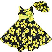 Sunny Fashion 2 Pecs Girls Dress Sun Hat Bow Tie Yellow Summer Beach