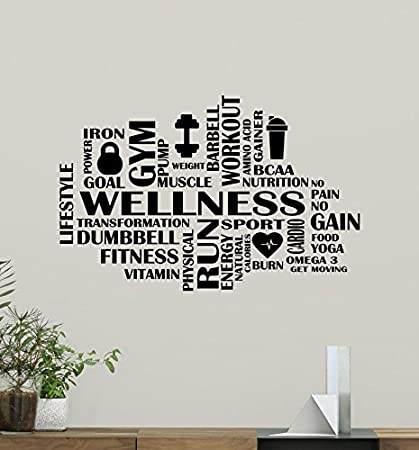 Fitness Words Cloud Gym Wall Decal Wellness Motivational Fitness ...
