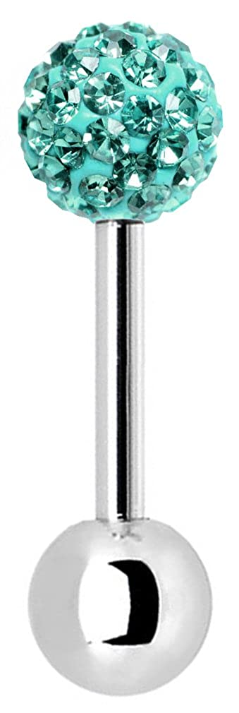bar Length 6mm trending jewels Surgical Steel Barbell 16G with 3mm CZ Crystal Ball