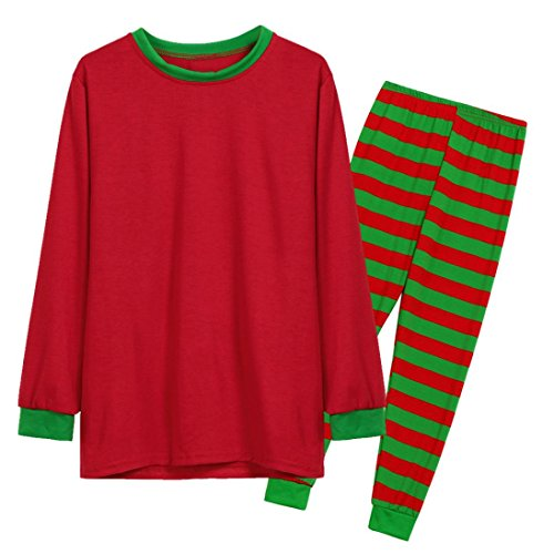 Striped Pajama Pants Flannel (Gocheaper Men Women Long Sleeve Pajamas Set,Unisex Christmas Set T Shirt Tops Blouse +Striped Pants (XL, Red+Green Men))