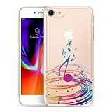 iPhone 8 Case, GoldSwift Clear Flexible Gel Case for iPhone 8 and iPhone 7 with Tempered Glass Screen Protector (Colorful Music)