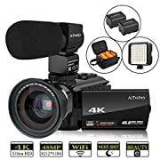 "#LightningDeal Video Camera 4K Camcorder AiTechny Ultra HD Digital WiFi Camera 48MP 16X Digital Zoom Recorder IR Night Vision 3.0"" IPS Touch Screen with Microphone, Wide Angle Lens, LED Video Light, 2 Batteries"