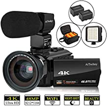 """Video Camera 4K Camcorder AiTechny Ultra HD Digital WiFi Camera 48MP 16X Digital Zoom Recorder 3.0"""" Touch Screen IR Night Vision with Microphone, Wide Angle Lens, LED Video Light, 2 Batteries, DV Bag"""