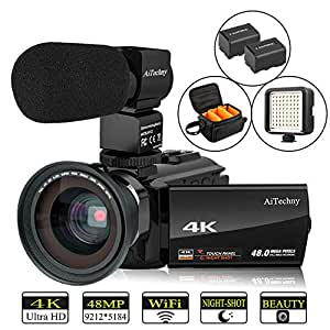 "Video Camera 4K Camcorder AiTechny Ultra HD Digital WiFi Camera 48MP 16X Digital Zoom Recorder 3.0"" Touch Screen IR Night Vision with Microphone, Wide Angle Lens, LED Video Light, 2 Batteries, DV Bag"
