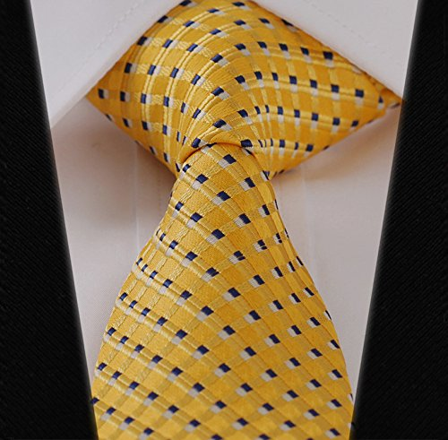 New Classic Black&Gold Striped Tie Woven Jacquard Silk Men's Suits Ties Necktie