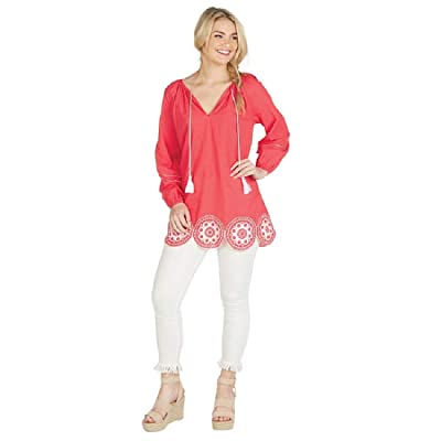 Mud Pie Monaco Embroidered Tunic Red Large at Women's Clothing store