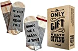 """Comfort Cotton Socks + Gift Box """"If you can read this bring me a glass of wine"""" Perfect Unisex Gift for Wine Lovers,Birthdays,White Elephant,Mother's Day,Father's Day,husband or Best Friend Wine Socks"""