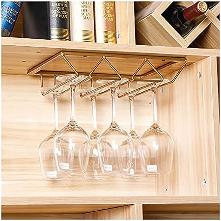 Barra de barras de vino, estante de copa de vino colgante, estante de copa de vino de hierro forjado, colgando de pared al revés de la barra de la casa percha (Size : A)