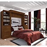 Bestar Versatile 115'' Queen Wall Bed with 2 Piece 6 Drawer Storage Unit in Tuscany Brown