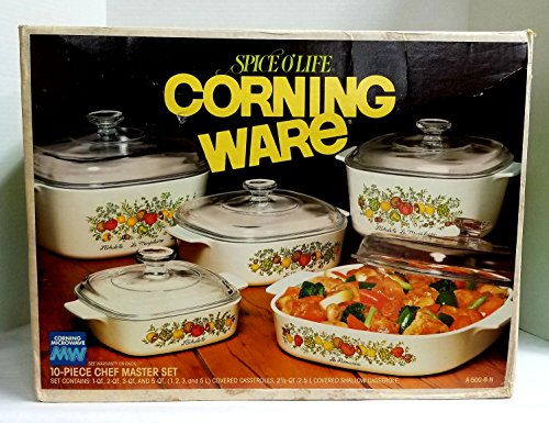 New Old Stock 1970's Corning Chef Master 10-Piece Corning Sp