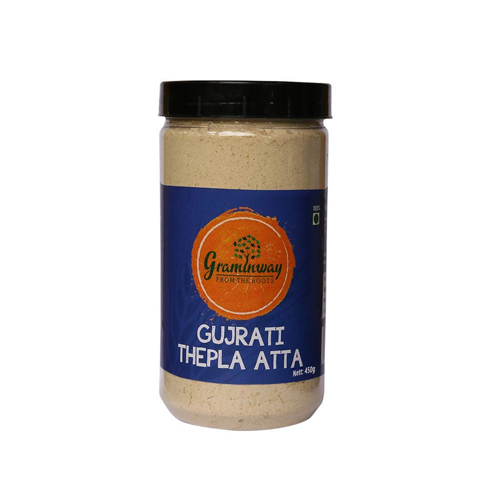 Gujarati Thepla Atta Whole Grain Healthy Flour, 450 gm (Pack of 1) Indian snack food by SHINE MILL