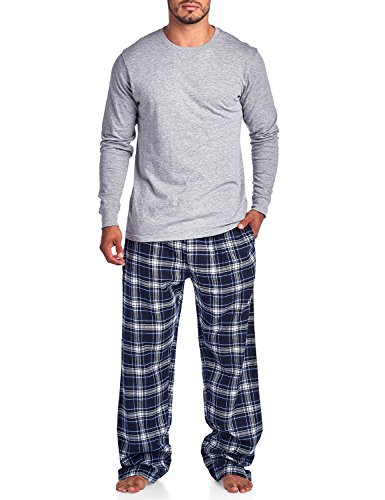 Ashford & Brooks Mens Flannel Long-Sleeve Top and Flannel Bottom Pajama Set