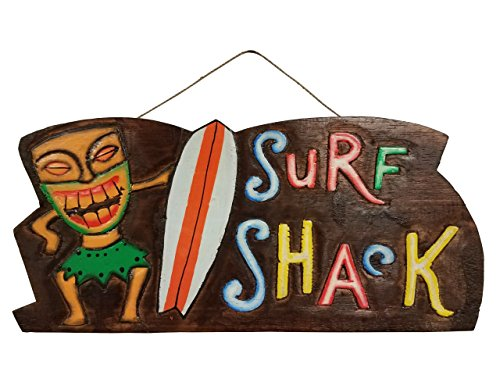 "16"" x 7.4"" NEW HANDCARVED & PAINTED WOOD ""SURF SHACK"" WALL DECOR SIGN!"