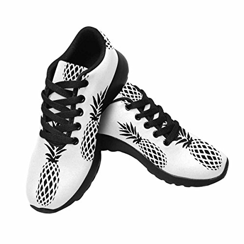 InterestPrint Womens Trail Running Shoes Jogging Lightweight Sports Walking Athletic Sneakers Black and White Minimalistic Pineapples Multi 1 WhozFX
