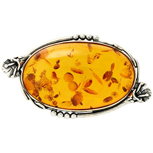 Sterling Silver Large Oval Russian Baltic Amber Brooch Pin with Flower Accents, 2 1/4 inch wide by Sabrina Silver