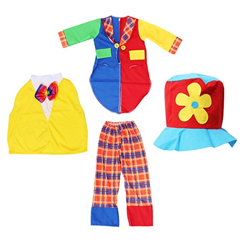 BESTOYARD Halloween Carnival Clown Costume Halloween Masquerade Kids Clown Outfit Suit for Childrens Party with Hat Size XXL (Hat + Shirt + Top + Bow Tie + Pants)
