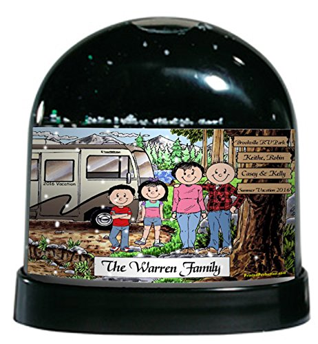 Personalized RV Lovers Snow Globe Gift made our list of personalized camping gifts for RV camp and tent campers