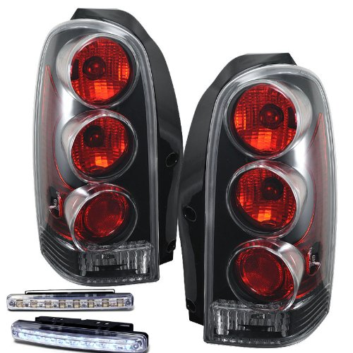 1997-2005 CHEVY VENTURE REAR BRAKE TAIL LIGHTS BLACK HOUSING+LED BUMPER RUNNING