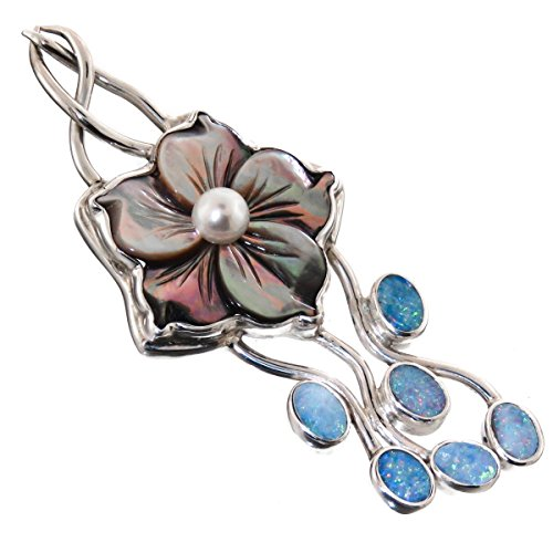 Natural Opal Mother Of Pearl Shell Flower 925 Sterling Silver Pendant, 2 3/8″