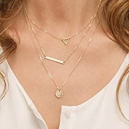 Bridalvenus Gold Layered and Long Choker Necklace, Alloy Bar Necklace, Layering Chokers for Women and Girls