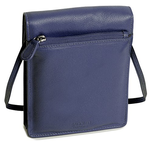 SADDLER Leather Cross Body Travel Passport Pouch - Card Holder - Peacoat Blue by Saddler (Image #5)