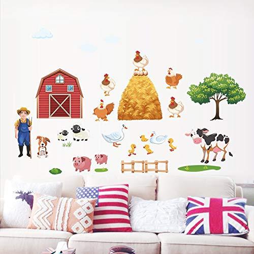 NUTADO Farm Animal Stickers - Cartoon DIY Farm Animals Wall Stickers for Living Room Bedroom Duck Pig Hen Cows Tree Wall Decals Poster Mural ()