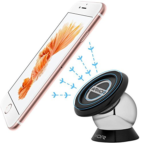 Mobile Phone Car Mount, Universal Magnetic Cell Phone Dashboard Car Mount Holder for Apple iPhone iPod Samsung Galaxy LG HTC Nokia MOTO, Android Smartphone, GPS, Sticks on Any Flat Surface
