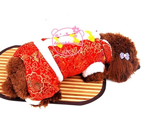 ZUNEA Small Dog Clothes for Winter Chinese Tang Dog Costume Jacket Pants Floral Dog Outfits Red (Best Dog Outfits)