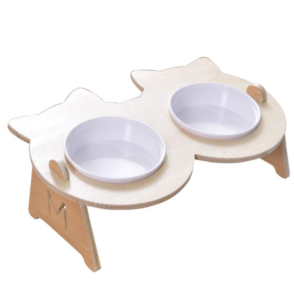 Dog Bowl Cat Bowl Pet Supplies Wood Base Plastic Bowl with Bracket Single Bowl Double Bowl Drinking Water Feeder