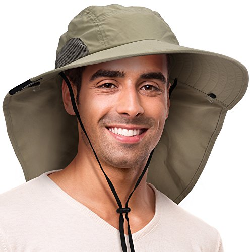 Solaris Outdoor Fishing Hat with Ear Neck Flap Cover Wide Brim Sun Protection Safari Cap for Men Women Hunting, Hiking, Camping, Boating & Outdoor Adventures by - Olive Microfiber Overall