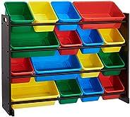 ROCKPOINT Kid's origanizer 16 Bins Espresso/Primary Toy Storage Organizer