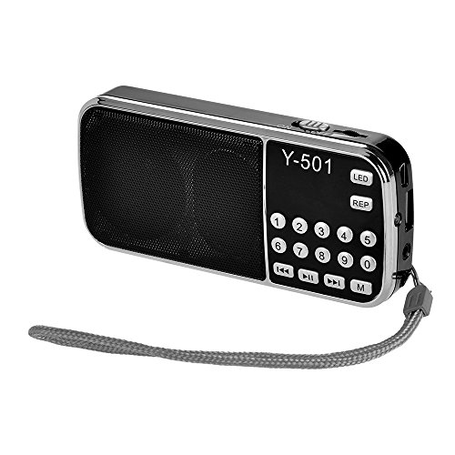 Docooler Y-501 Mini FM Radio Digital Portable 3W Stereo Speaker MP3 Audio Player High Fidelity Sound Quality w/ 0.75 Inch Display Screen LED Flashlight Support USB Drive TF Card AUX-in Earphone-Out