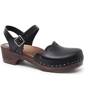 525f313b9f776a Sandgrens Swedish Wooden Low Heel Clog Sandals for Women