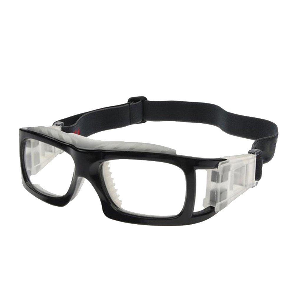 VORCOOL Gafas deportivas Lentes transparentes Gafas deportivas Gafas resistentes a los impactos con correa ajustable para baloncesto Balonvolea Voleibol Hockey Rugby (Negro)