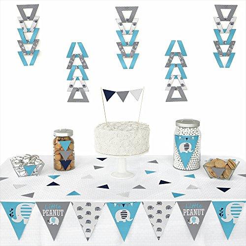 Blue Elephant - Triangle Boy Baby Shower or Birthday Party Decoration Kit - 72 Piece -