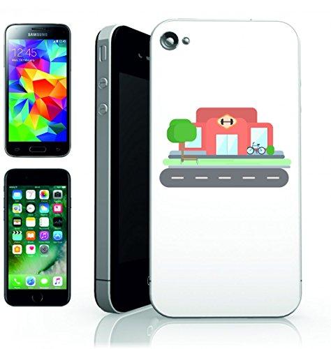 Smartphone Case Fitness tudio-Fit Sport Fitness della salute di fuori di muscoli del peso di sollevamento della Via della Città di Esterno della Costruzione per Apple Iphone 4/4S, 5/5S, 5C, 6/6S, 7