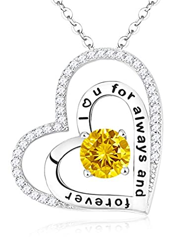 Citrine Swarovski Necklace November Birthstone Jewelry Birthday Christmas Gifts for Her 2 Double Hearts Sterling Silver Pendant Engraved